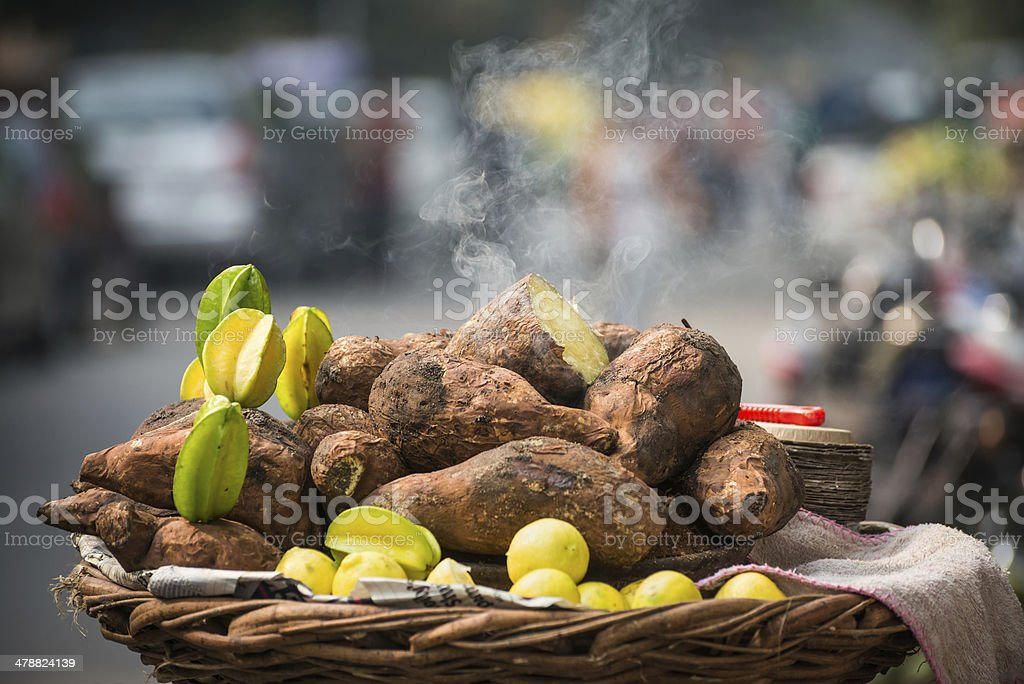 Sweet Potato and Starfruit Chaat Ingredients royalty-free stock photo