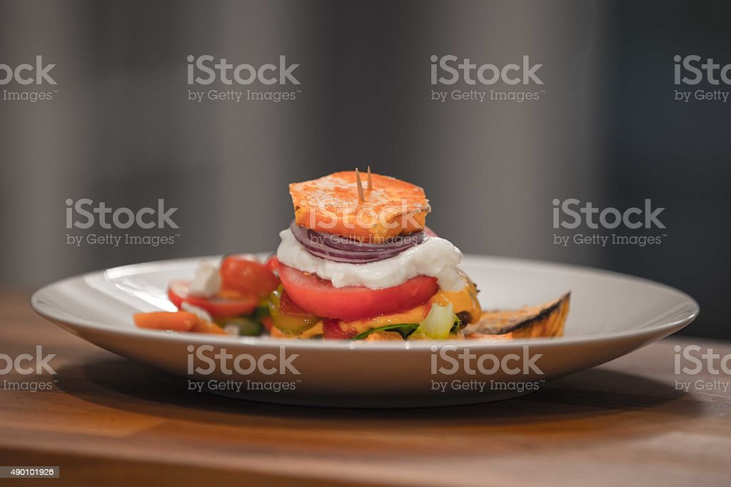 Sweet Potato Burger stock photo