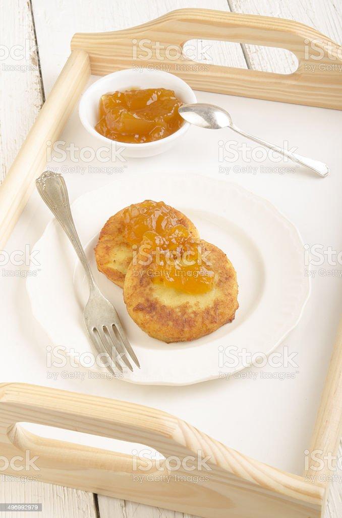 sweet potato cake with peach jam stock photo