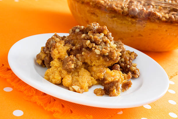sweet potato casserole - casserole stock photos and pictures