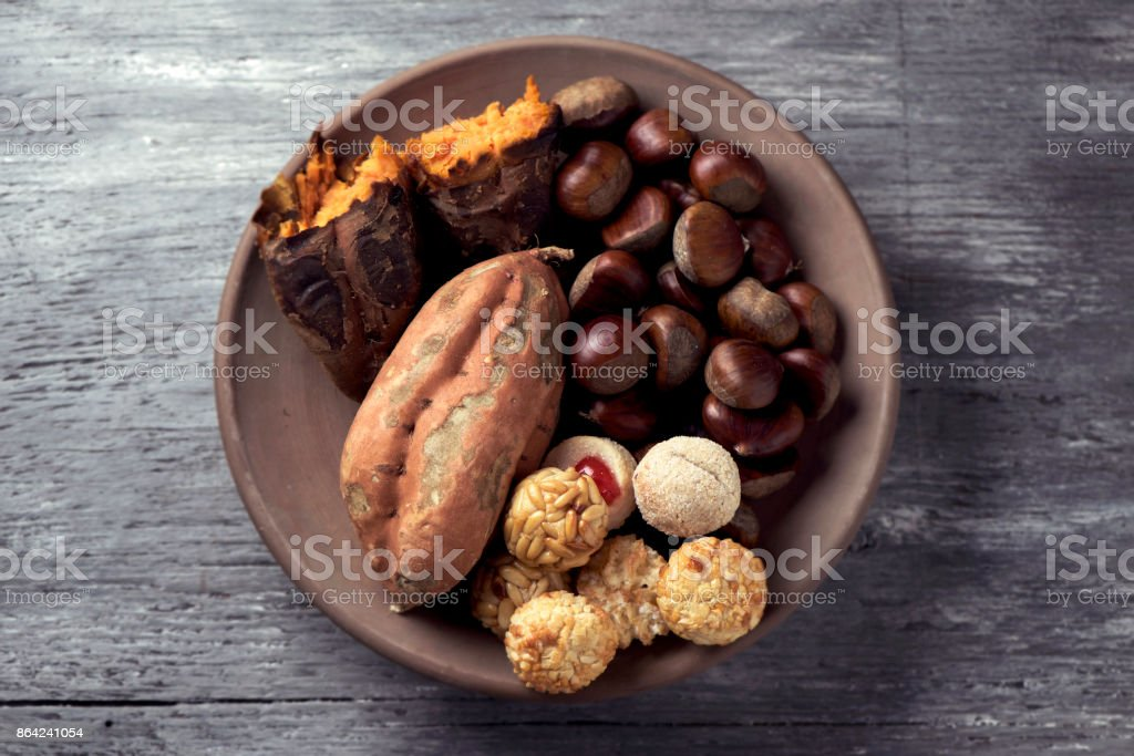 sweet potato, chestnuts and Catalan panellets royalty-free stock photo