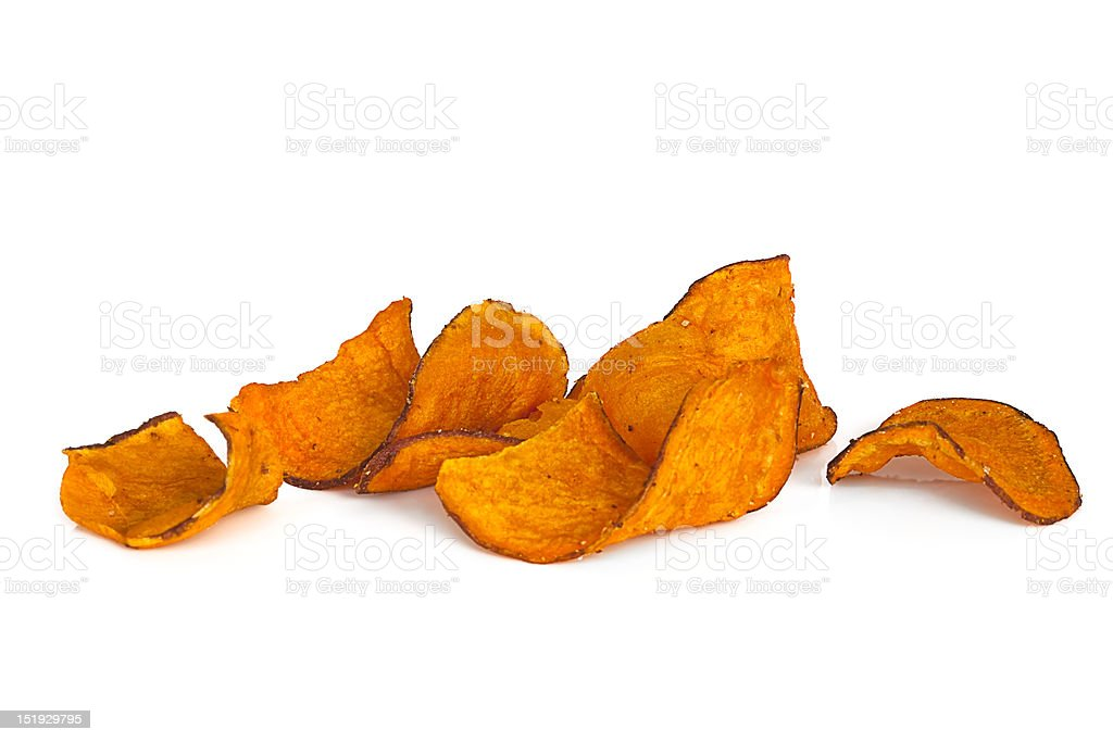 Sweet Potato Chips over White stock photo