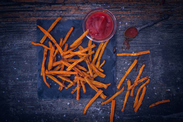Sweet Potato Fries Crispy Sweet Potato Fries sweet potato stock pictures, royalty-free photos & images