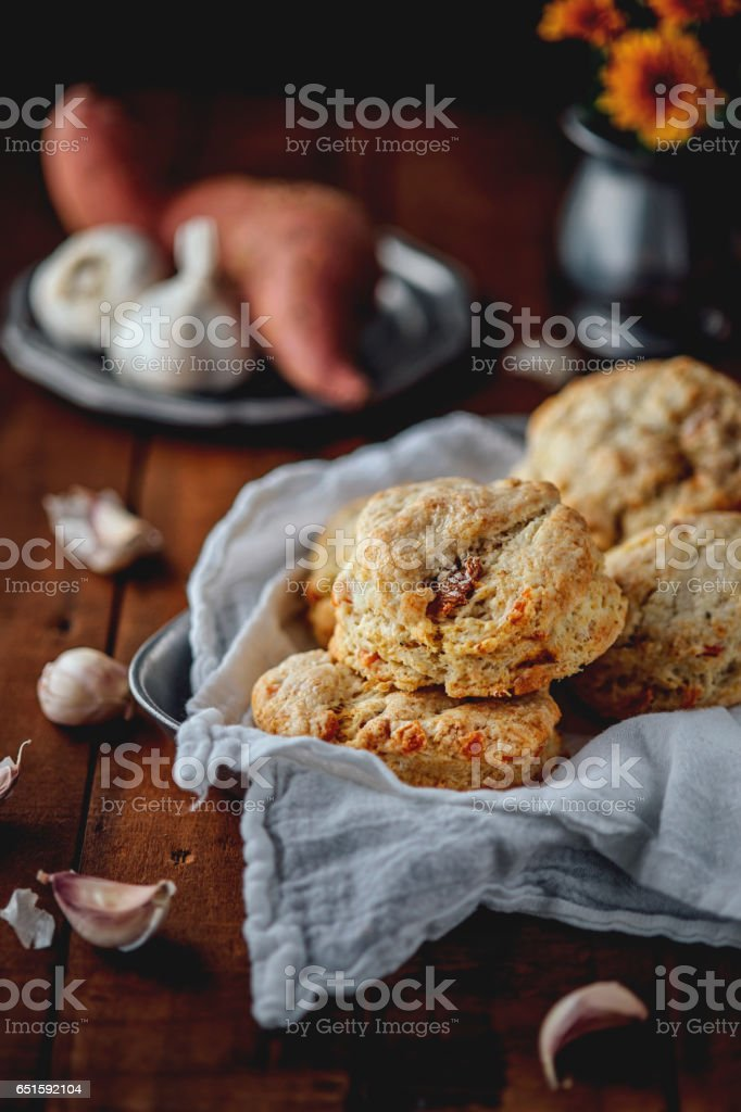 Sweet Potato Garlic Biscuits stock photo