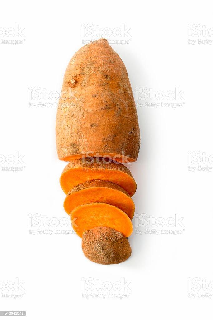 Sweet potato isolated on white studio background stock photo