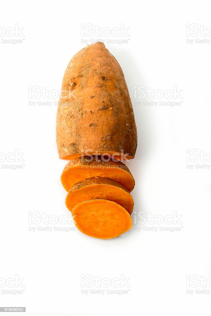 Sweet potato isolated on white studio background stock photo