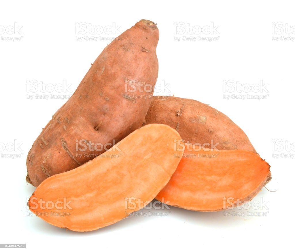 sweet potato on white background - fotografia de stock