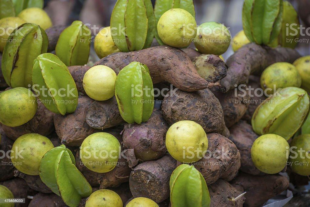 Sweet Potato & Starfruit Chaat Ingredients royalty-free stock photo