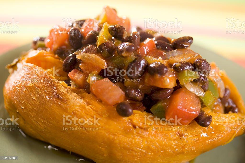 Sweet Potato with Black Bean Chili stock photo