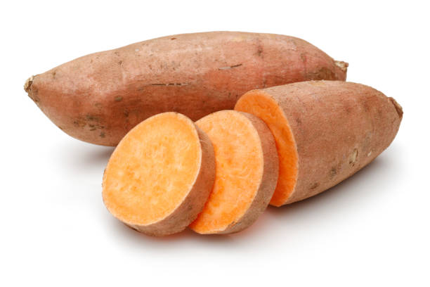 Sweet potato with slices Sweet potato with slices isolated on white background sweet potato stock pictures, royalty-free photos & images