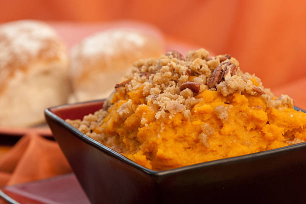 sweet potatoe souffle - casserole stock photos and pictures