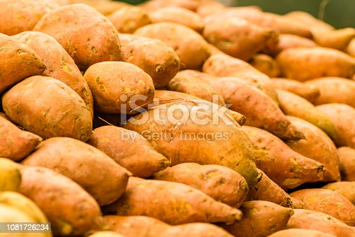 sweet potatoes at the produce market