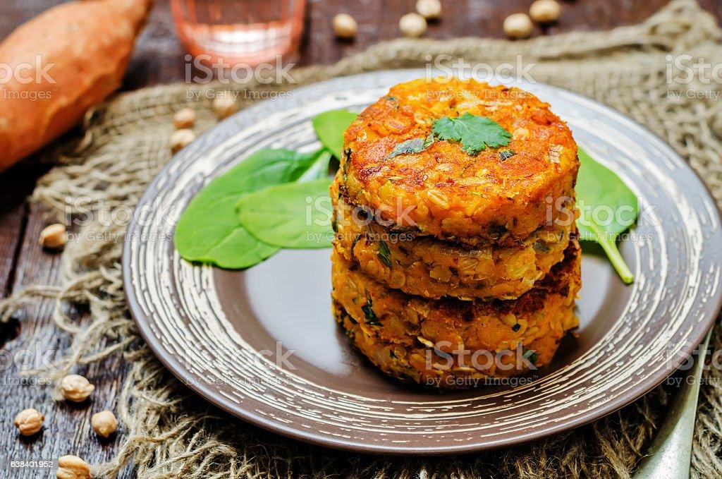 Sweet potatoes chickpea cilantro oats vegan burgers stock photo