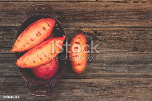 Sweet Potatoes Or Yams In An Old Rustic Tin Container On A Vintage Rustic Wood Background With Copy Space Top View Or Overhead Composition Stock Photo & More Pictures of Above