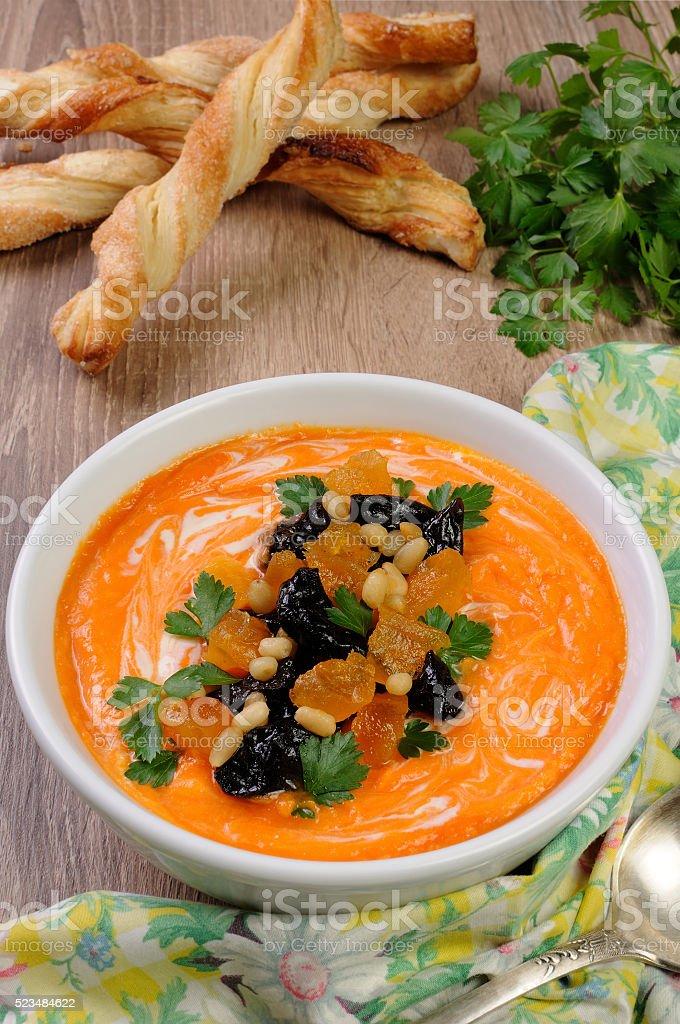 Sweet pumpkin soup puree stock photo