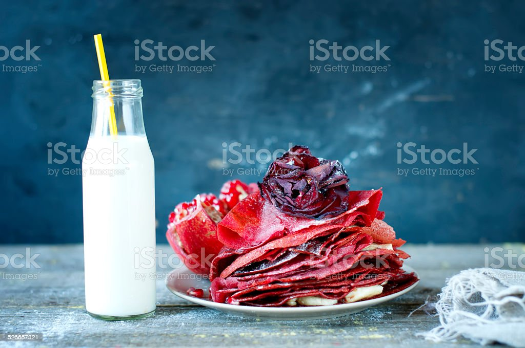 Sweet red pancakes. stock photo
