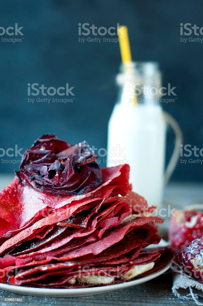 Sweet red pancakes stock photo