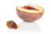 Group of one half one piece of sweet red peach isolated on white background