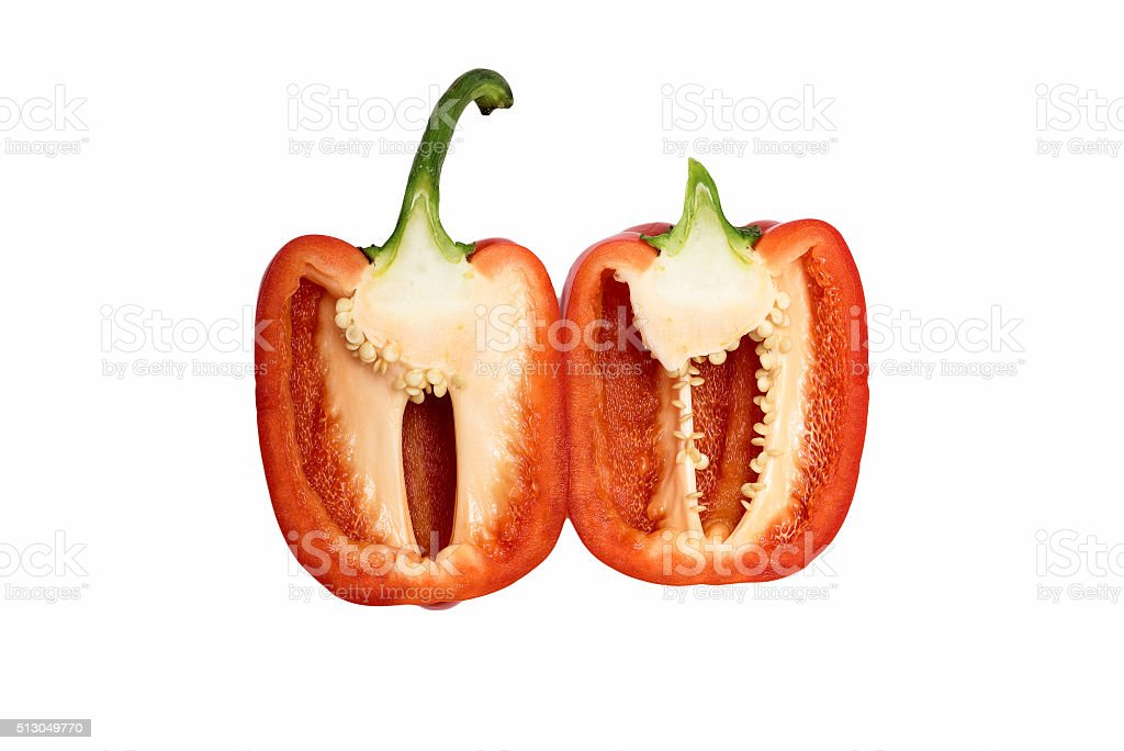 Sweet red pepper. Fresh paprika isolated on white stock photo
