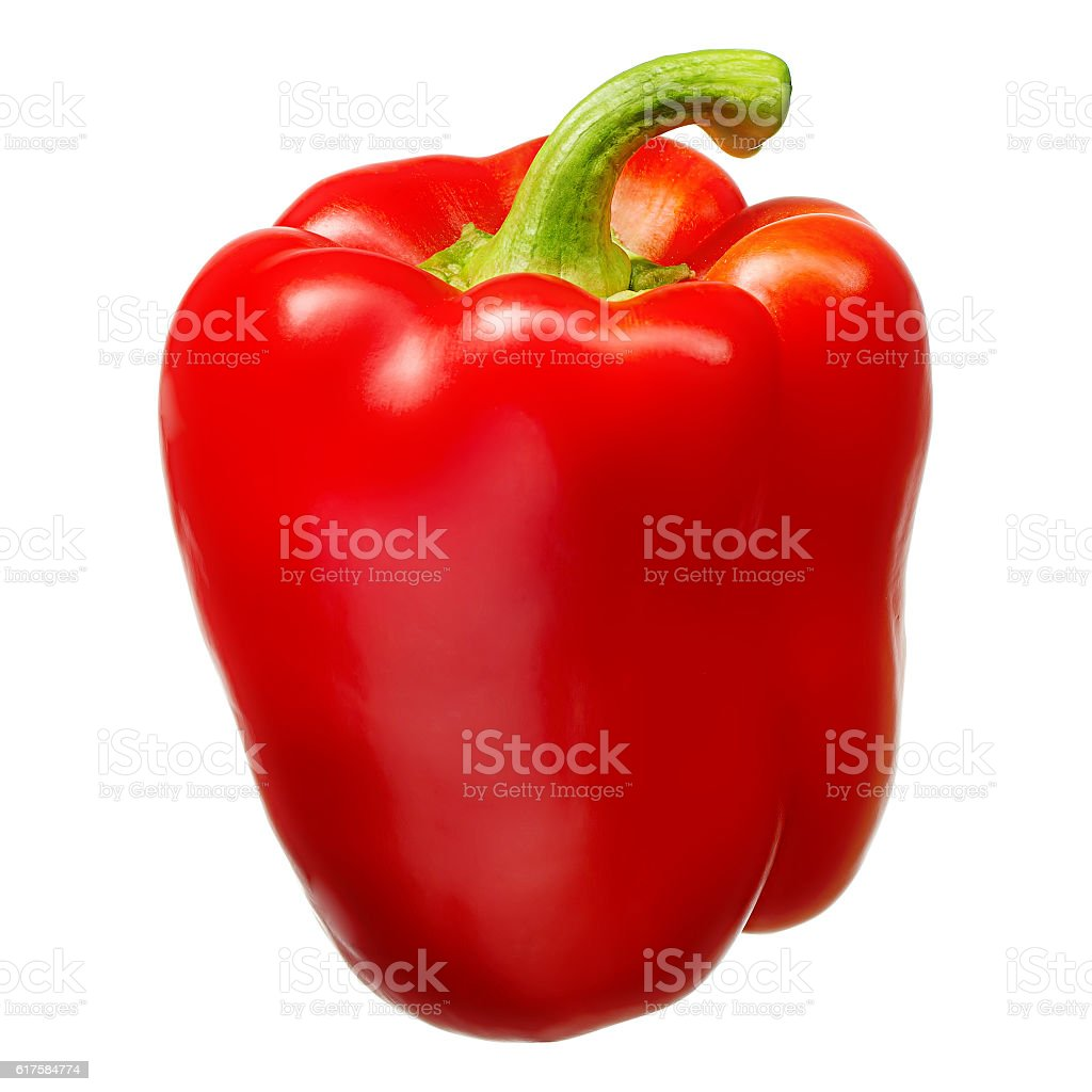 Sweet red pepper isolated on white background. With clipping path stock photo