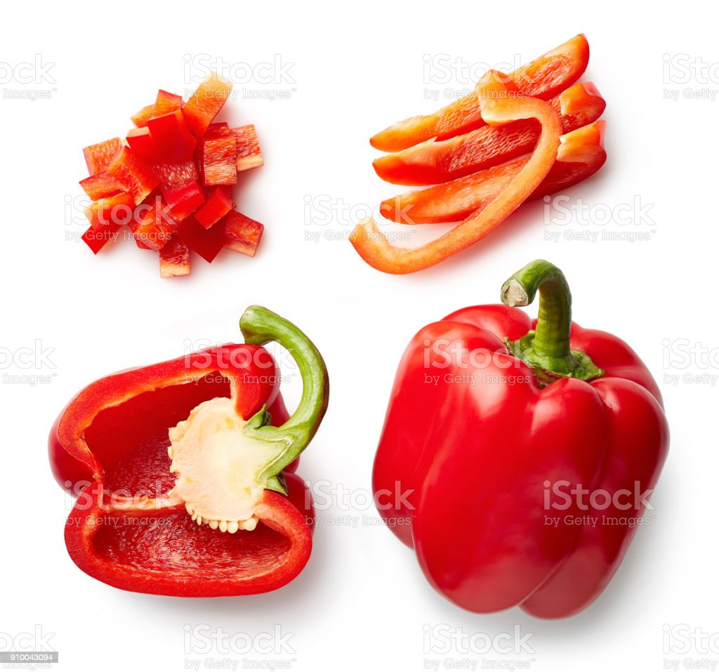 Sweet red pepper isolated on white stock photo
