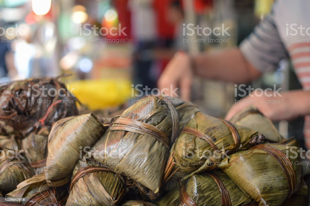 Sweet rice with coconut sold at street stalls on Jalan Petaling in Kuala Lumpur, Malaysia stock photo