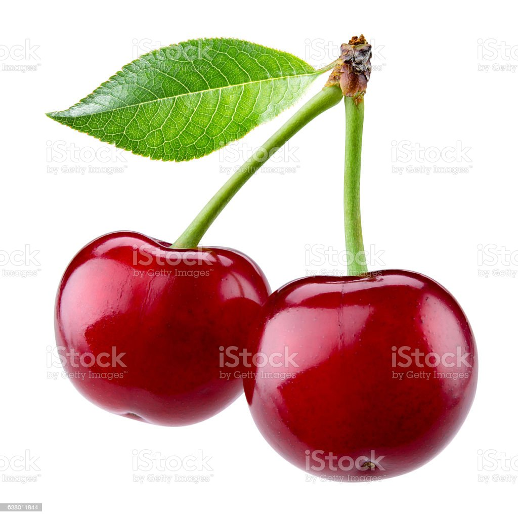 Sweet ripe cherry with leaf isolated on white background. stock photo