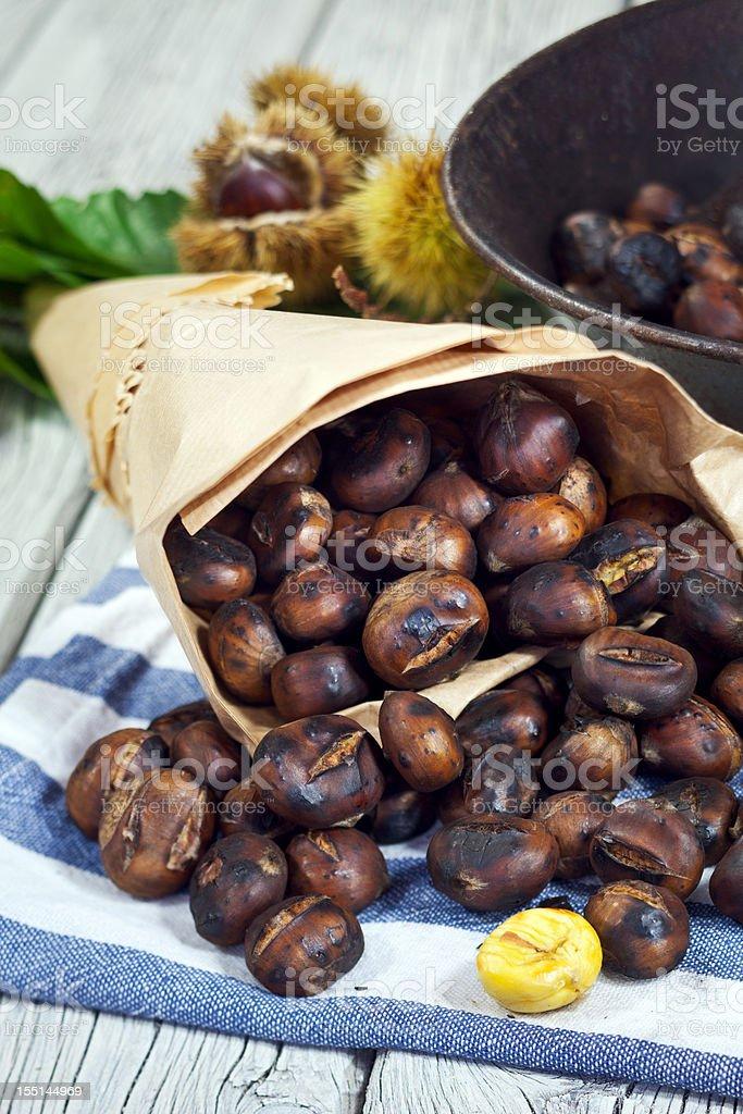 Sweet Roasting Chestnut stock photo