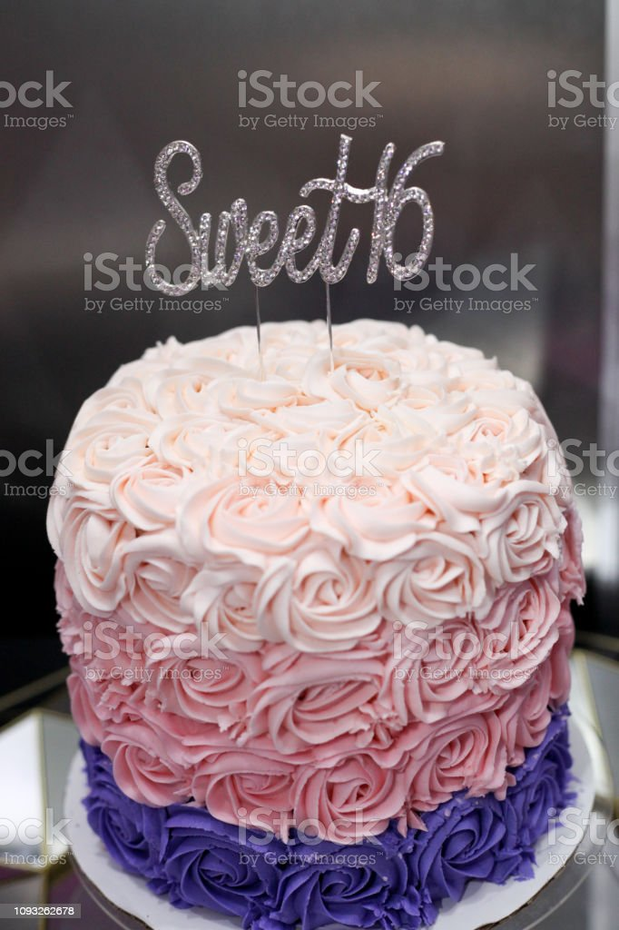 Stupendous Sweet Sixteen Birthday Cake For A Girl Stock Photo Download Personalised Birthday Cards Sponlily Jamesorg