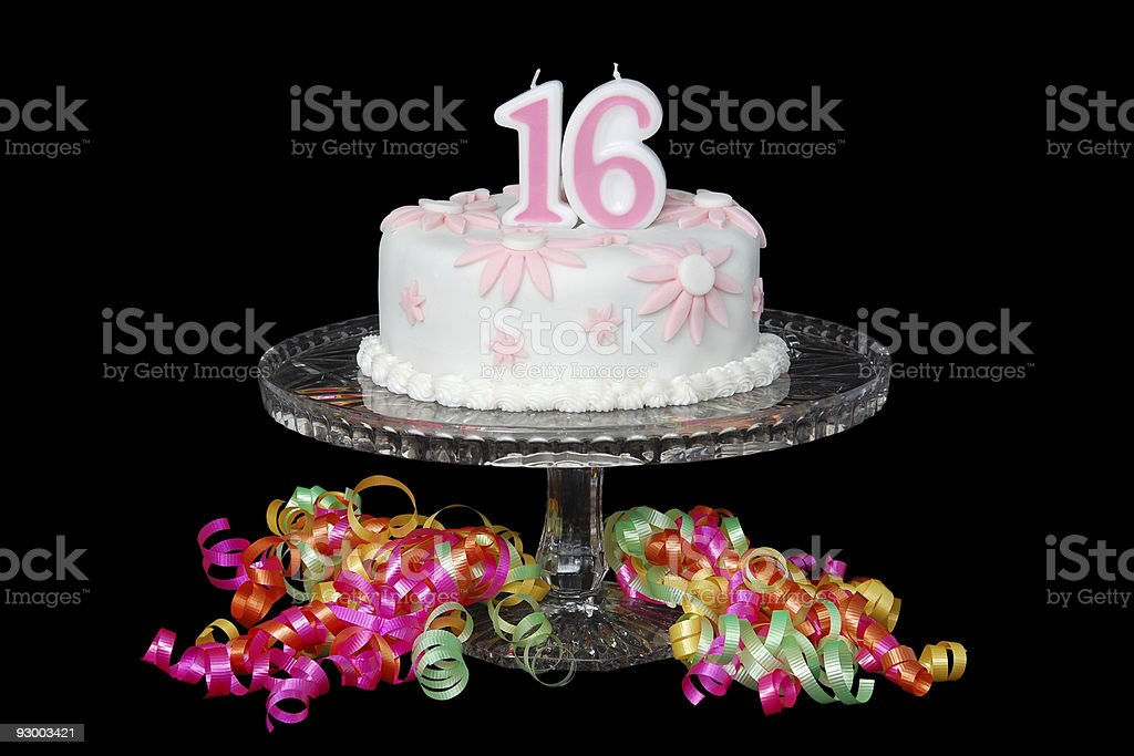Sweet Sixteen Cake stock photo