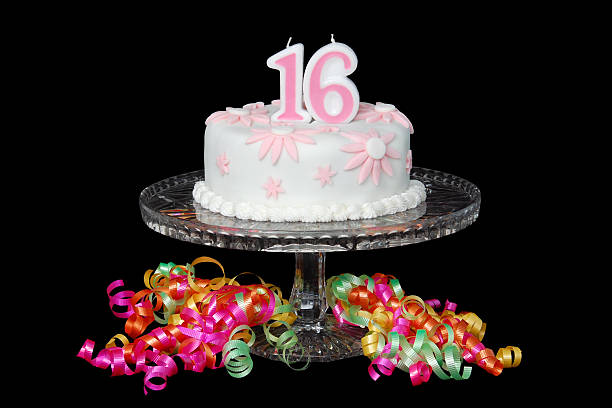 sweet sixteen cake - number 16 stock photos and pictures