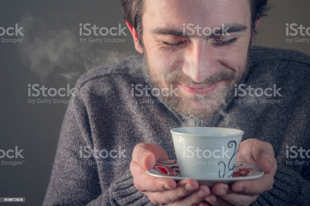 Sweet smell of a hot drink stock photo