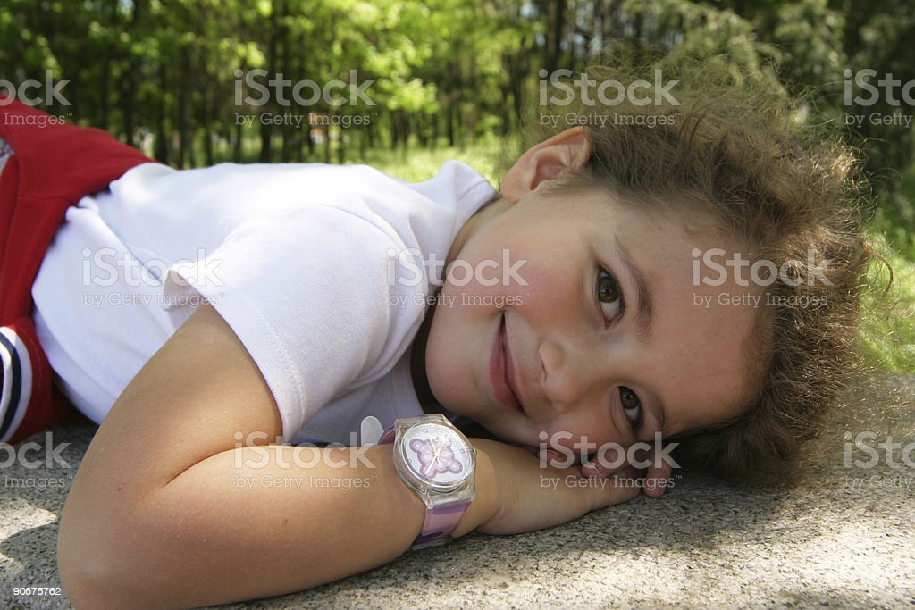sweet smile in the wood stock photo