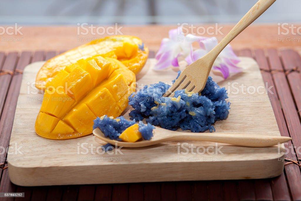 sweet sticky rice pea with mango stock photo
