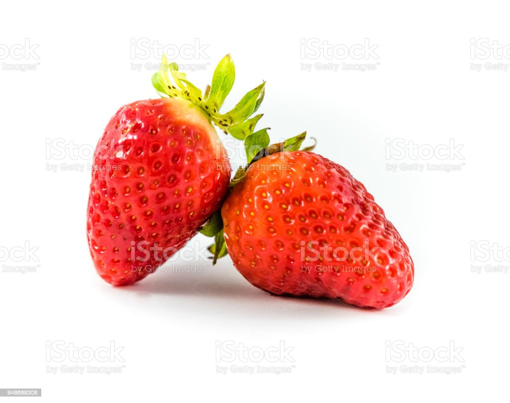 Sweet strawberry on white background. stock photo