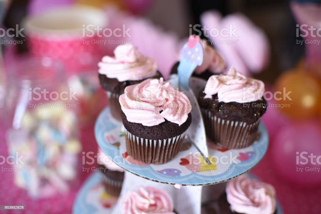 Sweet Table And Delicious Cakes For First Birthday Stock Photo
