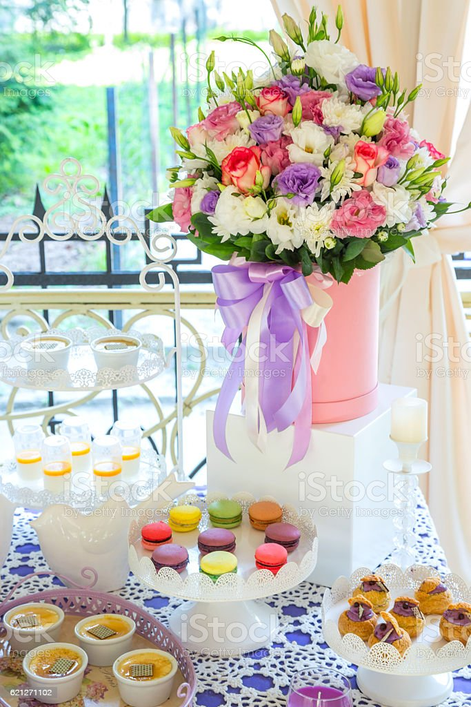 Sweet Table Candy Bar Flowers Stock Photo & More Pictures of Baby ...