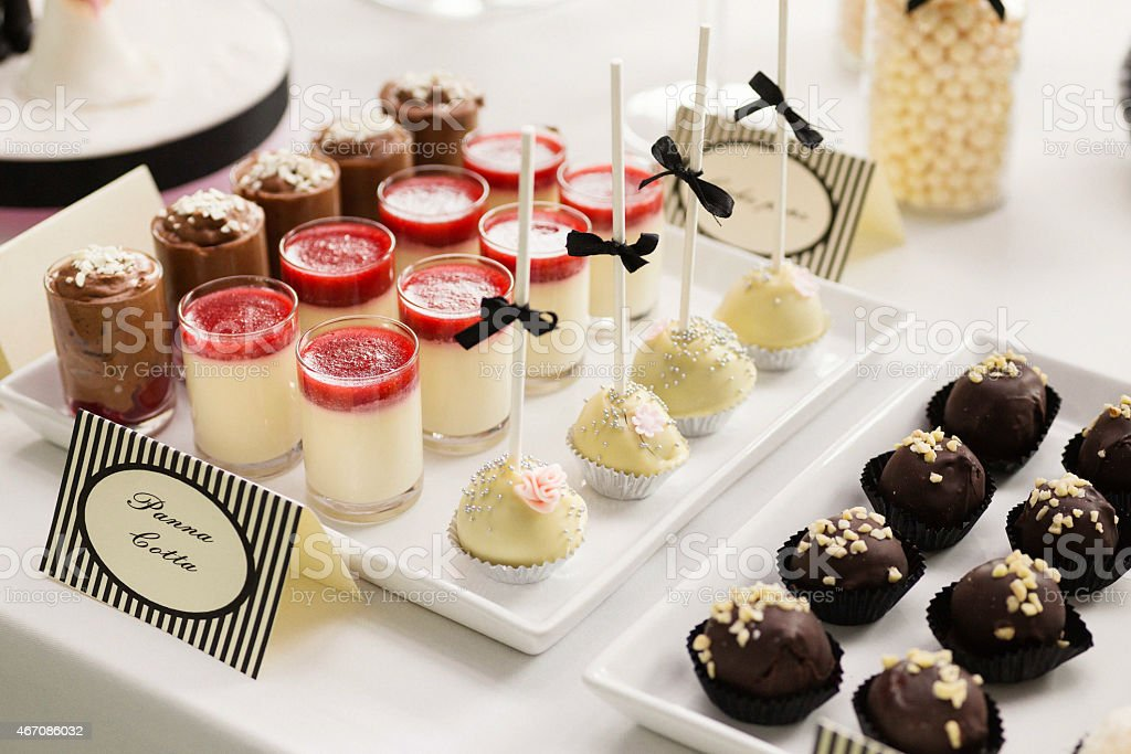 Sweet table with handmade pralines, cake pops and panna cotta
