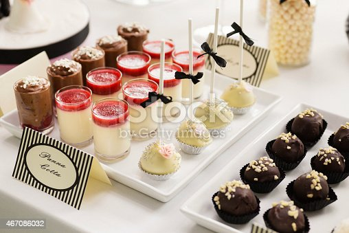 istock Sweet table with handmade pralines, cake pops and panna cotta 467086032