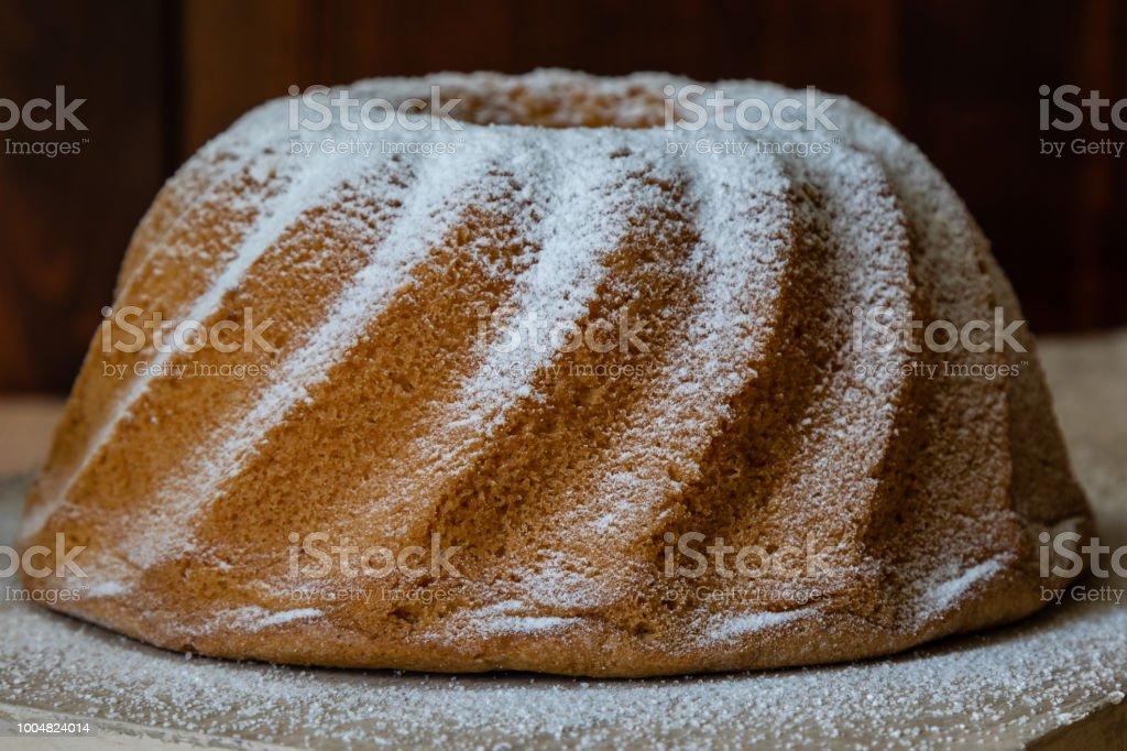 Sweet tasty rustic homemade bundt cake dessert stock photo