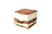 istock Sweet tiramisu isolated on white background. Tasty dessert 1224323665