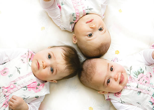 sweet triplet - triplets stock photos and pictures
