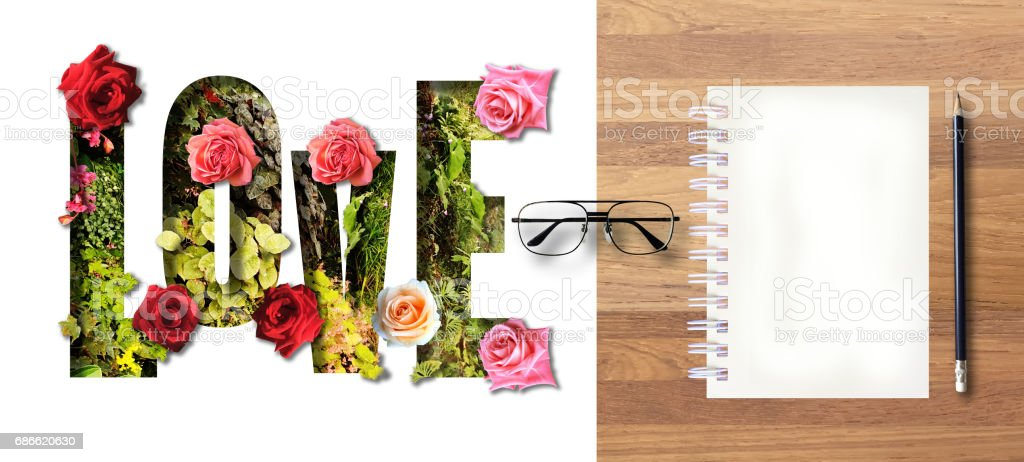 Sweet Valentine Love postcard with note book, glasses and pencil. royalty-free stock photo