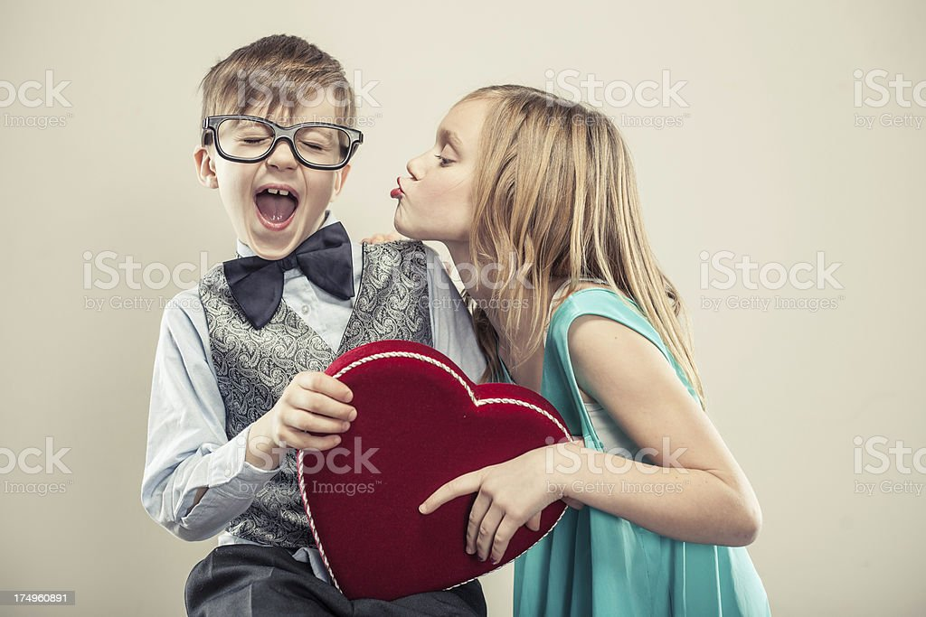 Sweet Valentine's Day Kiss with Kids stock photo