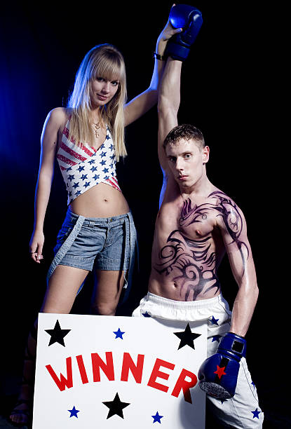 Sweet victory boxer with sexy cheerleader after box match american flag tattoos for men stock pictures, royalty-free photos & images