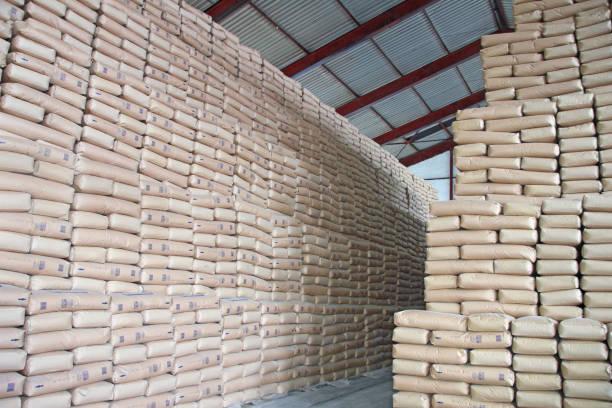 sweet wall - sugar in a warehouse - zuccherificio foto e immagini stock