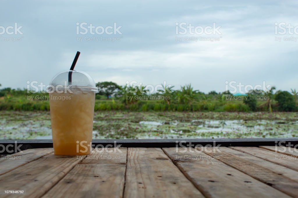 Sweet water from sugar palm on the table ,With the beauty of the...