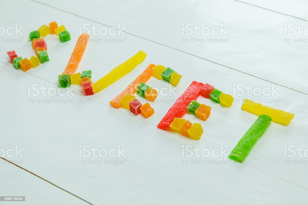 Sweet word made from dried pineapple foto royalty-free
