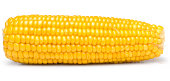 'Sweet yellow corn on white. This file is cleaned, retouched, contains'