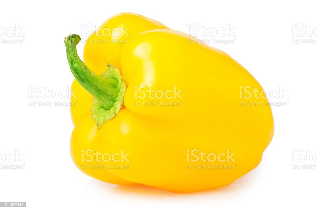 sweet yellow pepper isolated on white background stock photo